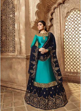 Affordable Admirable Peacock Blue Color Designer Wedding Wear Salwar Kameez Suit