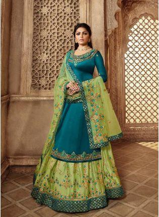 Decent Remarkable Turquoise Blue Color Designer Wedding Wear Salwar Kameez Suit
