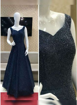 Sprinkle Blue Color Party Wear Look Gown