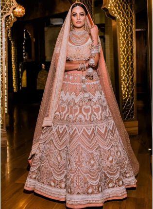 Iconic Peach Sequin Resham A-Line Bridal Bollywood Lehenga Choli