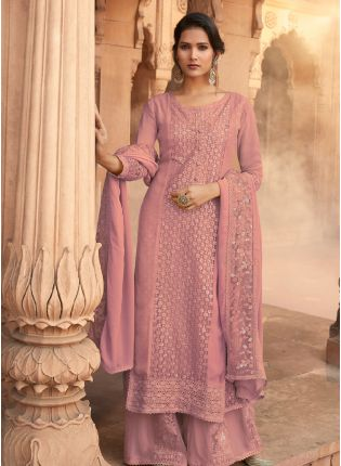 Adorable Peach Pink Color Georgette Base Heavy Work Palazzo Suit