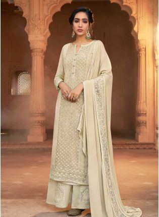 Elegant Look Off-White Color Georgette Base Heavy Worked Palazzo Suit