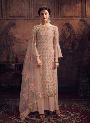 Wonderful Beige Georgette Base Resham And Stone Work Salwar Suit