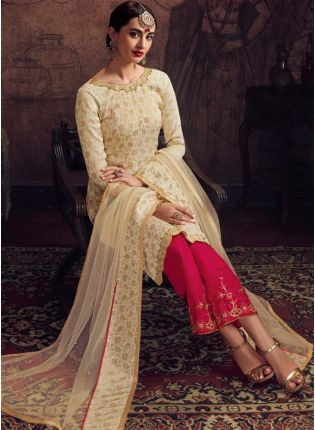 girl in Beige Jacquard Silk Palazzo Suit