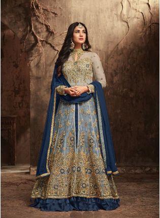 Shop Marvellous Blue Slit Cut Anarkali Suit With Heavy Embroidery