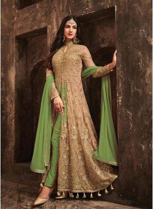 Splendid Marvellous Olive GreenSlit Cut Anarkali Suit With Heavy Embroidery
