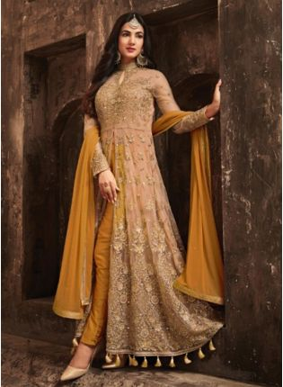 Buy Classic Mustered Yellow Slit Cut Anarkali Suit With Heavy Embroidery