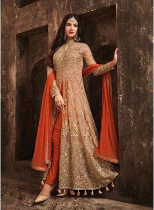 Decent Marvellous Orange Color Slit Cut Anarkali Suit With Heavy Embroidery