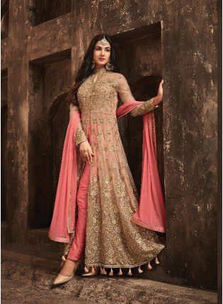 Splendid Amazing Peach Slit Cut Anarkali Suit With Heavy Embroidery