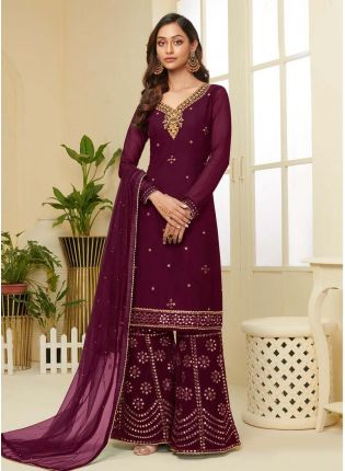 Glamorous Maroon Color With Embroidered Work Palazzo Suit