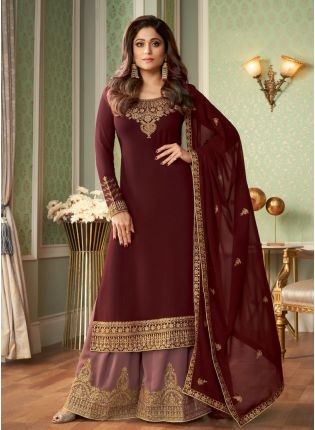 Buy Terrific Maroon Color Georgette Base Heavy Work Salwar With Peach Color Sharara Suit