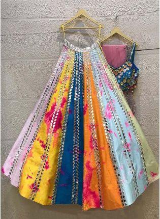 Gorgeous Multi Color Satin Fabric Mirror Work Lehenga Choli With Dupatta