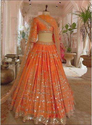 Orange Color Satin Fabric Mirror And Zari Work Lehenga Choli