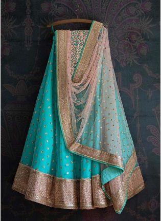 Light Blue Color Zari Work Soft net Fabric Lehenga Choli With Dupatta
