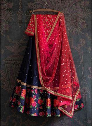 Navy blue Color Resham Work Satin Fabric Lehenga Choli With Dupatta