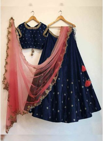 Purchase Blue Color embroidered flared wedding wear lehenga choli
