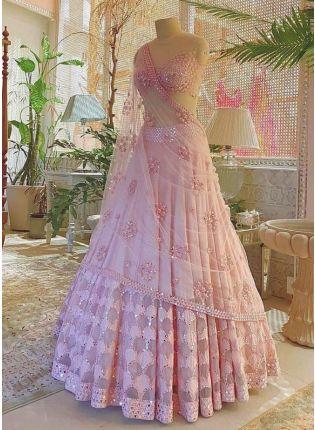 display of Delightful Pink Lehenga Choli Set