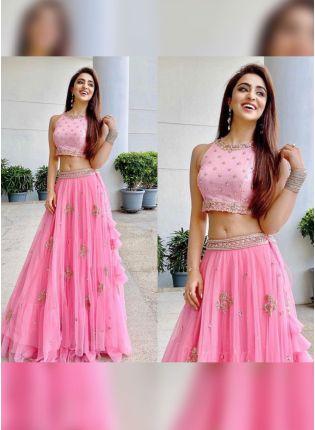 Buy Tempting Barbie Pink Soft Net Base Ruffled Sangeet Wear Lehenga Choli