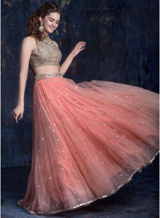 Peach Sequin Partywear Soft Net Lehenga Choli