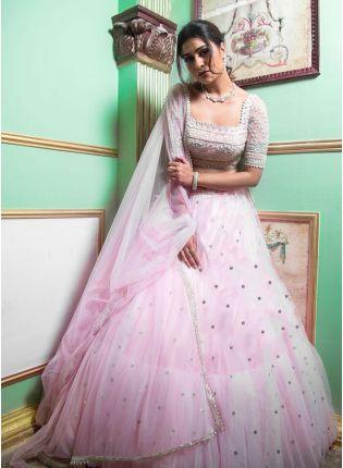 Elegant Look Baby Pink Color Soft Net Base Designer Ruffle Lehenga Choli