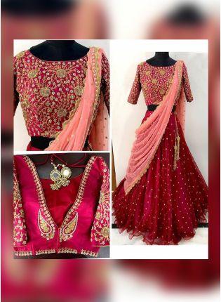 Buy Dark Maroon Color Designer Wedding Wear Pearl Work Lehenga Coli