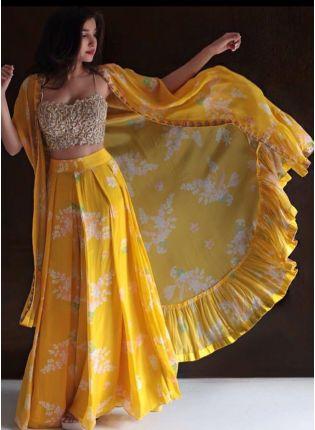 Decent Lemon Yellow Color Georgette Base Party Wear Jacket Style Lehenga Choli