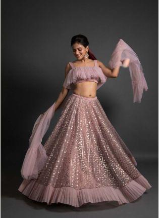 Affordable Elegant Onion Pink Color Soft Net Ruffle Lehenga Choli