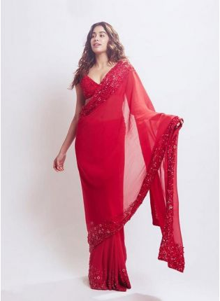 Buy Gorgeous Strawberry Red Georgette Base Designer Saree