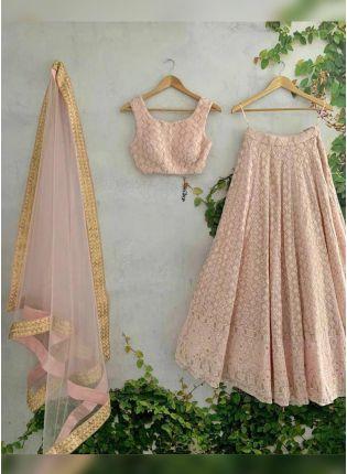 Buy Charming Peach Pink Georgette Panelled Flared Designer Lehenga Choli