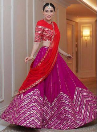 Shop Adorable Pink And Red Taffeta Silk Base Embroidered Lehenga Choli