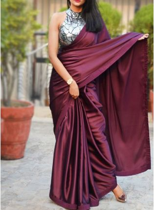 Trendy Look Wine Color Plain saree With Designer Look Blouse