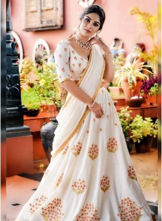 Affordable Remarkable Snow White Georgette Base Embroidered Lehenga Choli