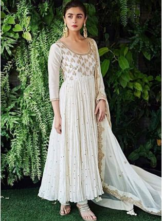 Shop Gorgeous Duck White Georgette Designer Dori Work Anarkali Style Suit