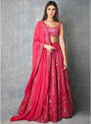 girl in Pink Zari Work Georgette Lehenga Choli Set