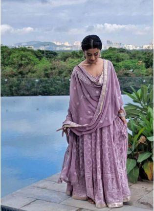 Best Dashing Lovender Georgette Heavy Thread Work Designer Lehenga choli