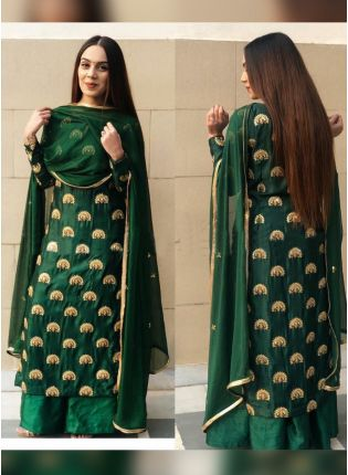Trendy Dark Green Color Wedding Wear Heavy Embroidery Work Palazzo Suit