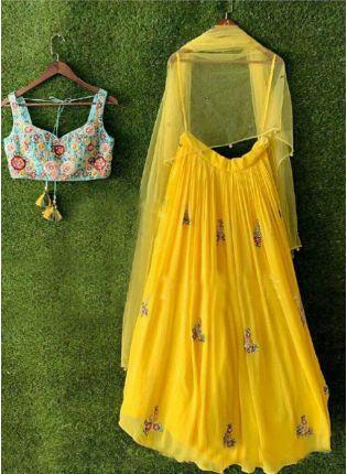Purchase Lemon Yellow Georgette Base Embroidery Work Party Wear Lehenga Choli