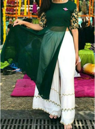 Trendy Dark Green Color Georgette Base Party Wear Palazzo Suit
