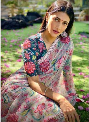 Multi Color Party Wear Digital Print Georgetta Base Saree