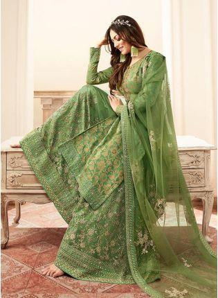 Modish Pista Green Silk Base Embroidered Salwar Suit