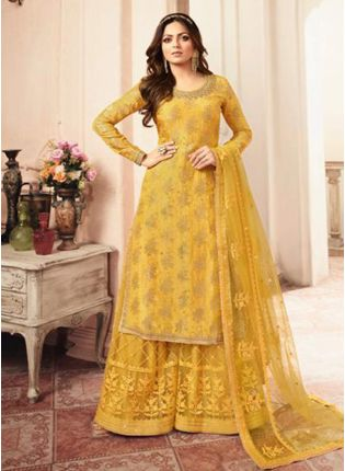 Adorable Yellow Silk Base Embroidered Salwar Suit