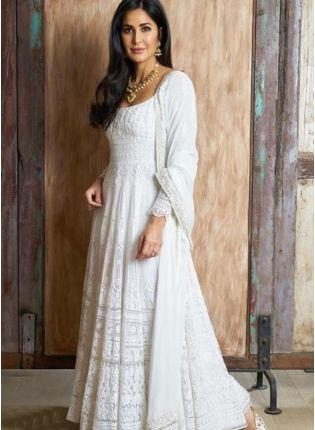 Purchase White Color Party Wear Designer Heavy Thread Work Salwar Kameez Suit