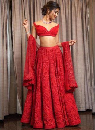 Stylish Rose Red Color Party Wear Designer Georgette Base Lehenga Choli