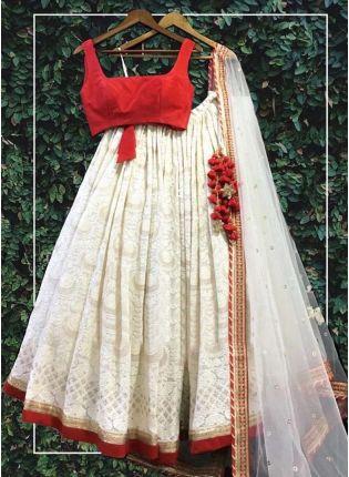Splendid Delightful White Georgette Base Lakhnavi Work Designer Lehenga Choli