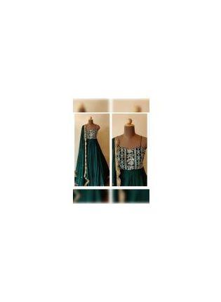 Dark Green Color Georgette Base Embroidered Designer Gown