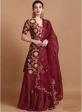 Shop Wonderful Maroon Colored Zari Work Lehenga Suit