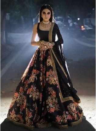 girl in Black Lace Digital Print Tafetta Silk Lehenga Choli Set