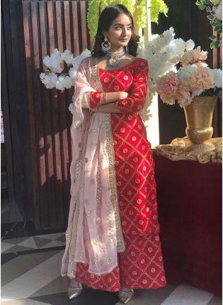 Elegant Red Tafetta Silk Zari Gotta Work Palazzo Salwar Suit