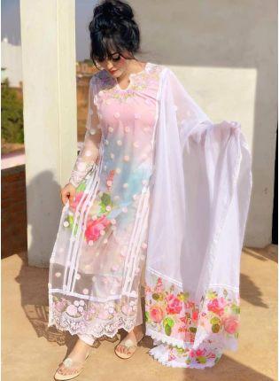Charming White Soft Net Resham Digital Print Pant Style Suit