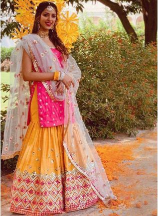 girl in Pink Tafetta Silk Sharara Suit